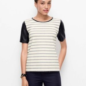 Ann Taylor Faux Leather Sleeve Striped Tee Shirt